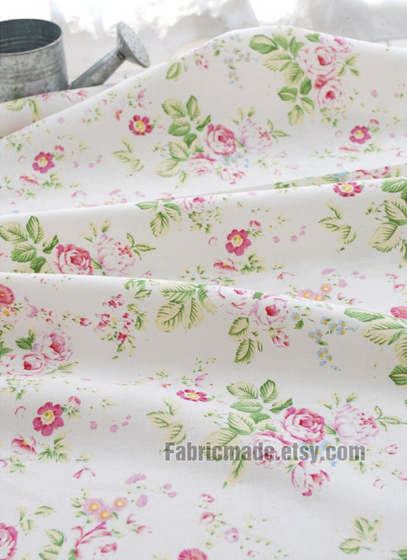 Fabric With Pink Roses Rose Japanese Fabric