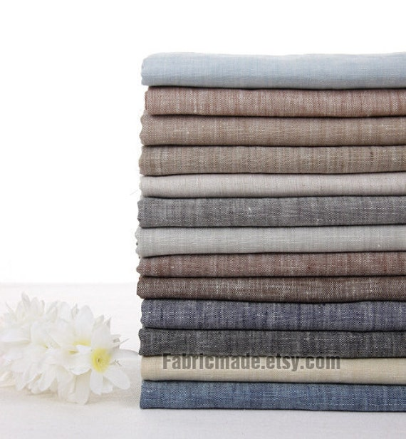 Beige And Coffee Plaid Print Linen Contemporary Bedroom: Vintage Linen Fabric Pure Linen Solid Grey Beige Brown Coffee