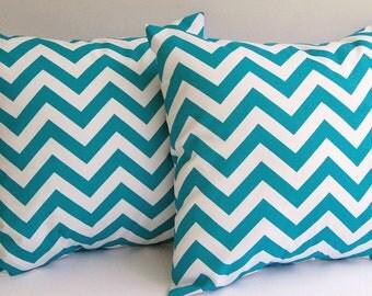 """Turquoise chevron throw pillow covers set of two 16"""" x 16"""" turquoise and white Chevron zig zag"""