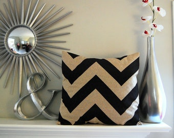 "Pillow cover One 20"" x 20"" chevron black pillow beige pillow cushion cover"