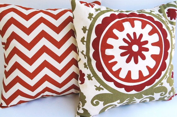 """Pillow covers set of two 16"""" x 16"""" Rust, Olive, and Natural Pillow covers Chevron and Suzani"""