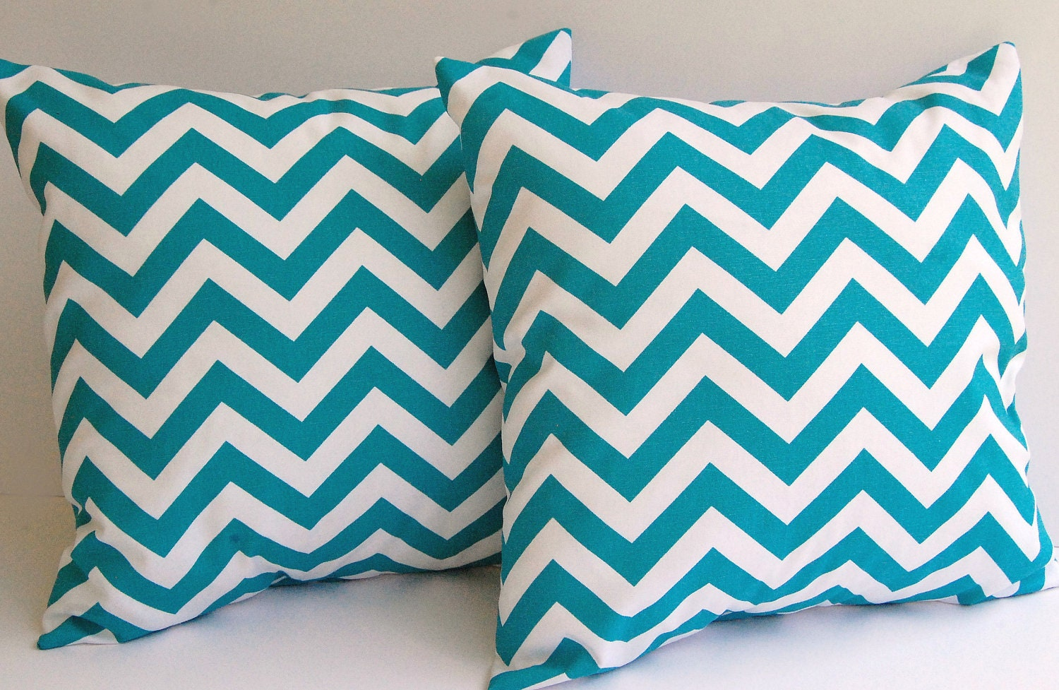 Throw Pillow Covers Set : Turquoise chevron throw pillow covers set of by ThePillowPeople