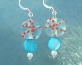 aqua blue and coral lampwork starfish beaded earring