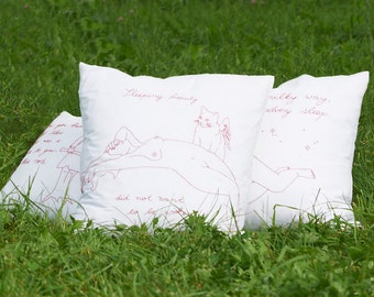 "Hand-embroidered pillow ""Cotton Candy"""