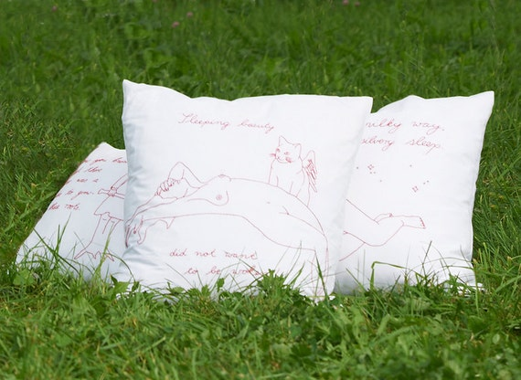 """Hand-embroidered pillow """"Cotton Candy"""""""