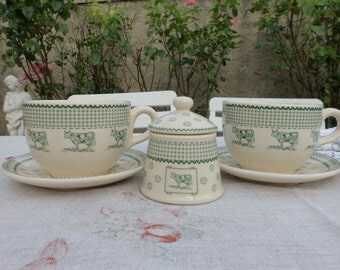 """Vintage French """"cup and saucers with sugar"""" From Geneviève Lethu."""