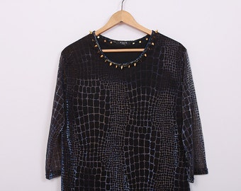 Studded Spiked Blouse Vintage Snake Pattern SPIKES