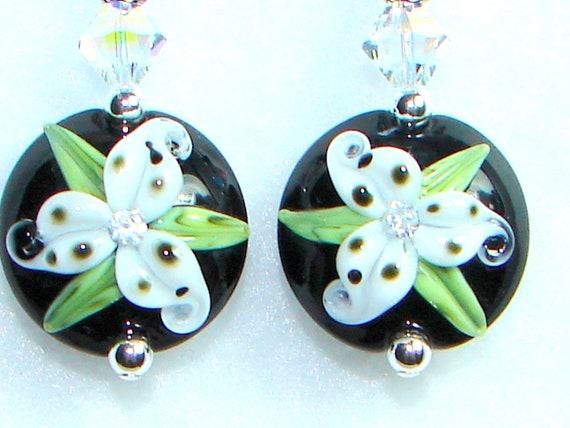 White Lily Earrings, Flower Earrings, Lampwork  Earrings, Glass Earrings, Cubic Zirconia