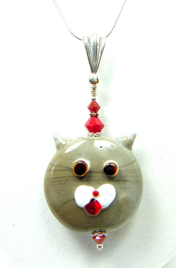 Cat Necklace, Lampwork Necklace, Gray Cat, Meow, Kitty Necklace, Cat Pendant, Alley Cat