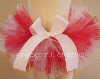 Red and White Tutu Skirt for Newborns Toddlers and Girls