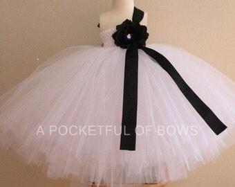 White Flower Girl Dress with Black details, Girls Formal Dress, Long White Tulle Dress