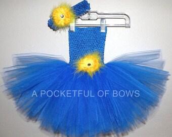 Royal Blue Tutu Dress, Birthday Tutu Dress, Royal Blue and Yellow Dress