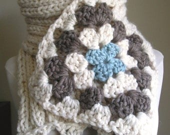 Not Your Granny's Scarf -- Wool blend - Warm and Toasty -- Ivory with blue and taupe highlights