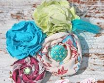 Turquoise, Mint, Wine, Purple, Baby Girl's Spring Headband, Hair Accessory, Infant Headband, Hair Bows, Fabric Flowers