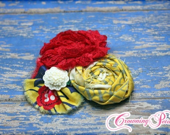 Red, Yellow, Navy Headband, Hair Accessories, Hair Piece, Baby Girl Hair Bow, Mustard Fabric Flowers, Hair Clip, Flower Headband, Hairbow
