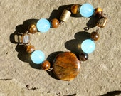 Beaded Aqua and Tiger's Eye Bracelet - Woodland Moonlight