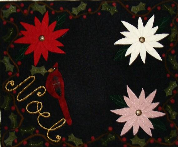 Penny Rug Pattern - Cardinals Noel