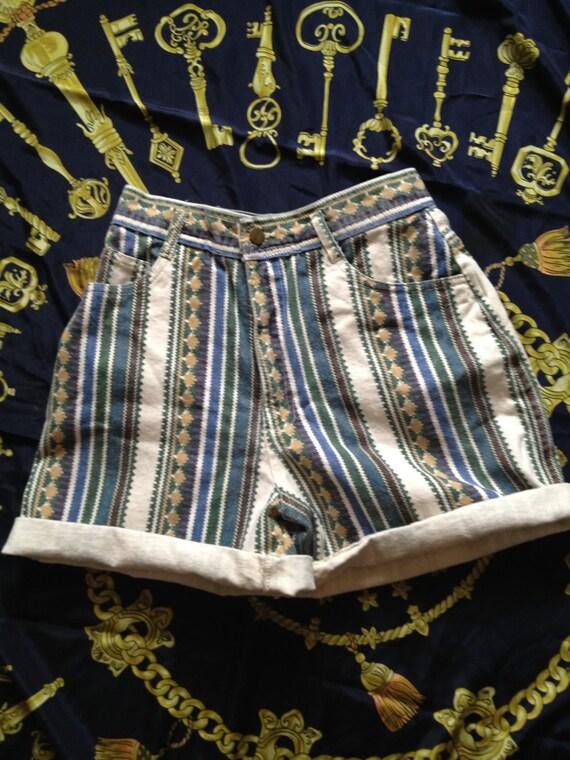 High Waisted Tribal Print Shorts