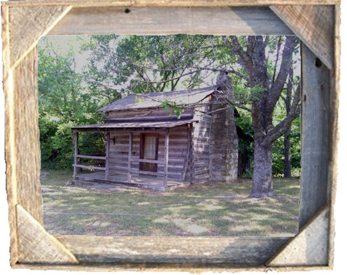 Log Cabin photo taken by me framed in Rustic, Weathered Wood Picture Frame 8x10