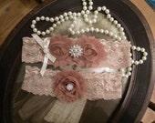 SALE-Wedding Garter - Beige Lace Garter Set - Brown Garter - Bridal Garter - Vintage Garter - Ivory and Beige - Garter Set - Toss