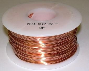 Genuine Solid Copper Wire  24ga 10 OZ. 550ft. (Soft)  bright copper