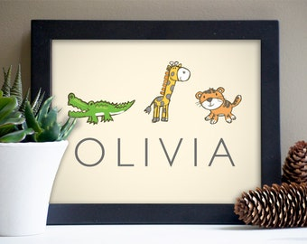 Personalized Baby Name Art Print with Zoo Animals