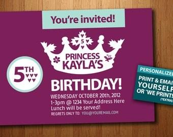 Printable Girl's Princess Birthday Invitation (Personalized)
