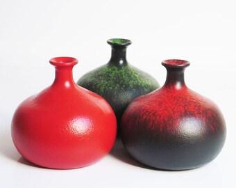 Set of 3 funky vintage glass vases (1960's -70's)