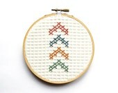 Chevron Arrows Embroidery Hoop Art, 5 Inch Modern Wall Art, Hand Embroidered, Four Arrows, Rustic Cross Stitch Home Decor, Paste