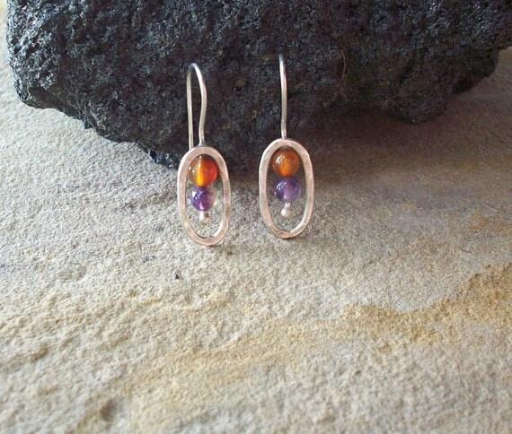 Amethyst and Carnelian Encircled Sterling Silver Earrings