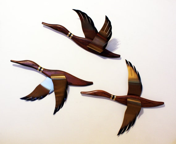 MIDCENTURY MODERN DUCKS - by Masketeer Inc., wooden wall hang with tin wings, Mad Men style (early 1960s)