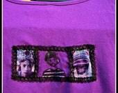 purple cotton shirt with folklore portraits