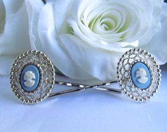 Blue Cameo Hair, Blue Hair Pins Hair Comb, Blue Bridal Hair Accessories, Cameo,Blue Wedding Hair Comb, Blue Wedding Hair Accessories, Cameo