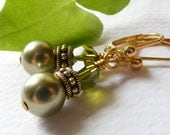 Green Swarovski Pearl and Crystal Earrings with Antique Gold Rococo Beads on Leverbacks. Olivine. Olive Green.