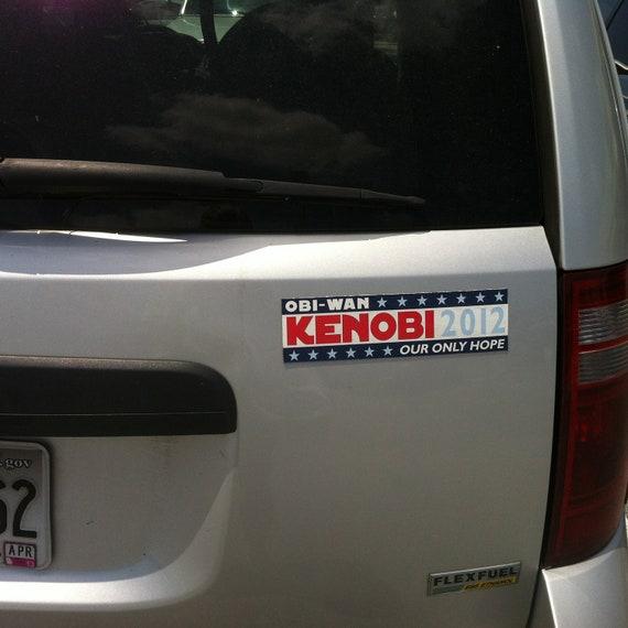 Obi-Wan Vehicle Magnet... Obi-Wan Kenobi 2016, Our Only Hope  - Election Humor - Star Wars - Magnetic Bumper Sticker