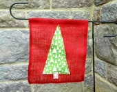 Red Burlap Christmas Tree Garden Flag