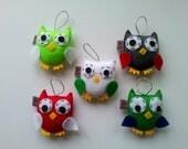 Owl Felt Ornament, Set of 5, MADE TO ORDER, Christmas Decoration