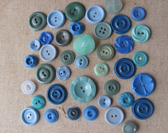 Vintage Lot of 40 Assorted Blue Plastic Buttons