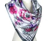 Beautiful Square Faux Silk Scarf- Grey, pink, and purple