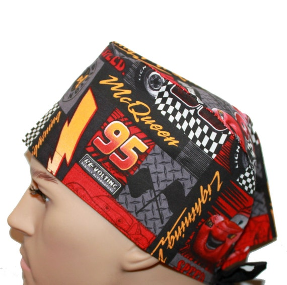 Disney Cars Lightning McQueen Scrub hat. Made with 100% Cotton. Also Great as a Welders Cap