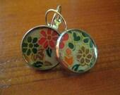 Floral chiyogami resin earrings