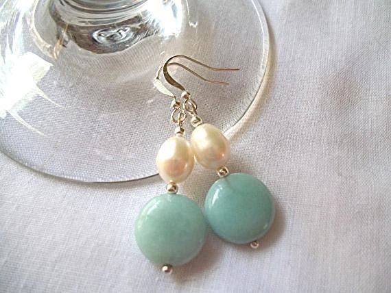 Amazonite & Fresh Water Pearl Earrings