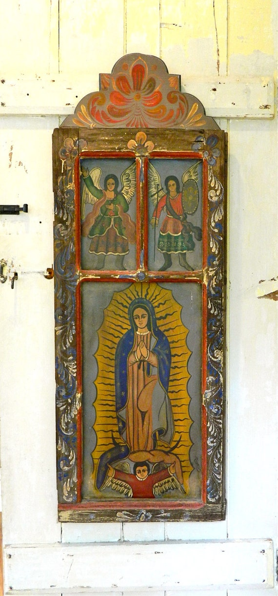 Reserved for Sue Nicho Retablo Painting Three Panel Antique Window - Virgin Mary Our Lady of Guadalupe, St. Michael, St. Rafael