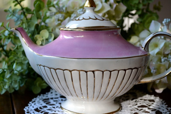 Vintage Arthur Wood & Son Fine Bone China Teapot with Lid, Pink, Gold Gilt, England