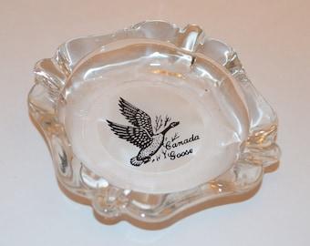 Glass Ashtray, Canada Goose Ashtray, Vintage Ashtray, Canadian Goose Decor, Bird Decor, Bird Ashtray