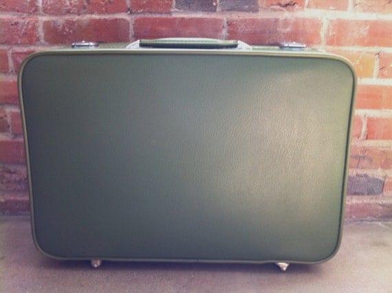 1950s Amelia Earhart Green Vintage Suitcase