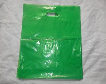 50 -Large 15x18x4 ~Glossy Lime Green Low Density Retail Merchandise Bags Premium Quality w/ Cut Out Handles Poly Merchandise Bags w/ handles