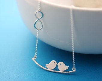 Silver lovebirds pendant. Infinity necklace, Silver love birds, infinity necklace, Mothers gift, Bridal Shower gift, Anniversary gift.