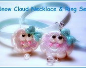 Sparkle Snow Cloud Necklace and Ring Set