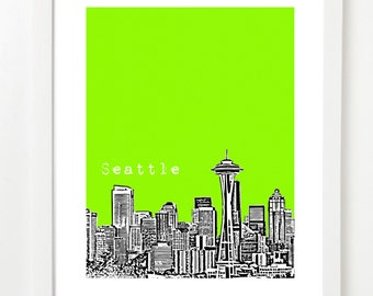 Seattle - Seattle Poster - City Skyline Art Print - Seattle Washington - Space Needle VERSION 1